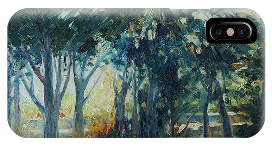 Trees IPhone X Case featuring the painting Angel Rays by Rick Nederlof