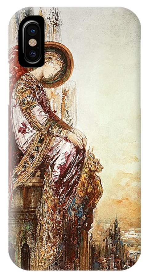 Watercolor IPhone X Case featuring the painting Angel Traveller by Gustave Moreau