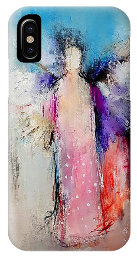 Angel IPhone X Case featuring the painting Angel Wings by Nelepcu Samuel