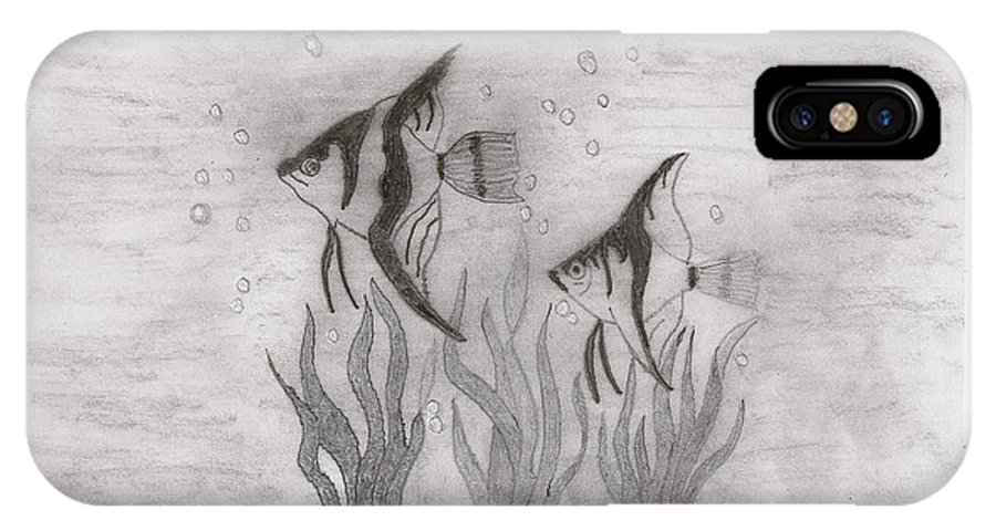 Fish IPhone X Case featuring the drawing Angelfish by Sherri Gill