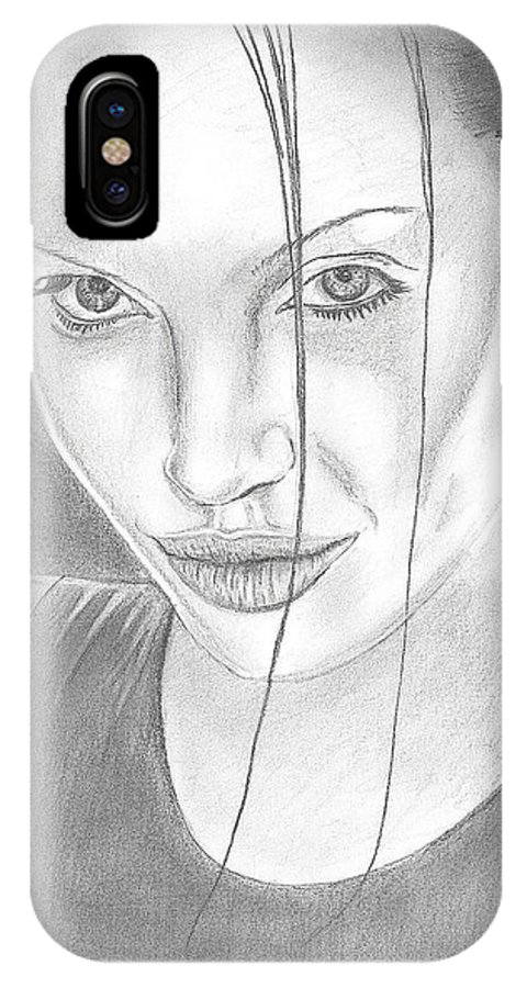 Angelina IPhone X / XS Case featuring the drawing Angelina Jolie by Branislav Djuric