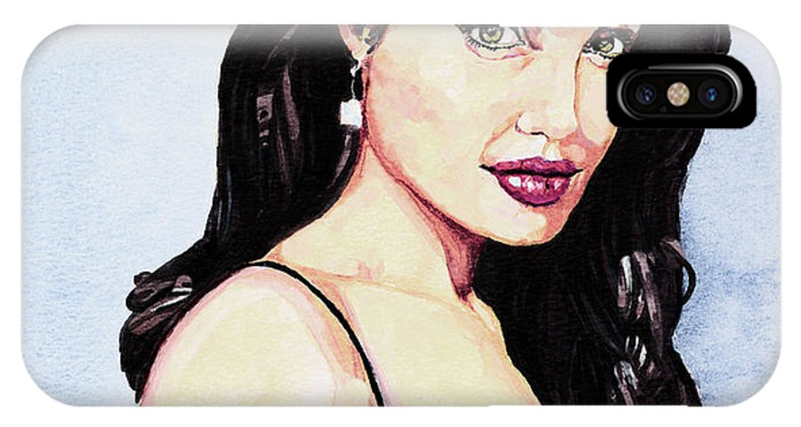 Star IPhone X Case featuring the painting Angelina Jolie Portrait by Alban Dizdari
