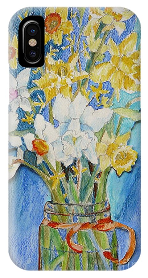 Flowers IPhone X Case featuring the painting Angels Flowers by Jan Bennicoff