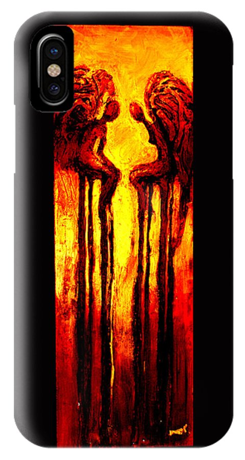 Abstract IPhone X Case featuring the painting Angels Talk by Milda Aleknaite