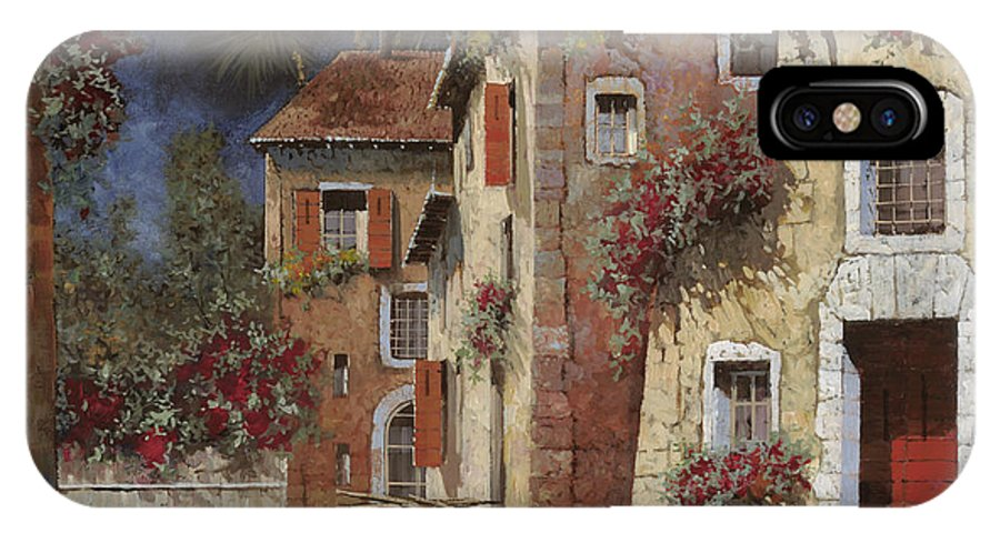 Night IPhone X Case featuring the painting Angolo Buio by Guido Borelli