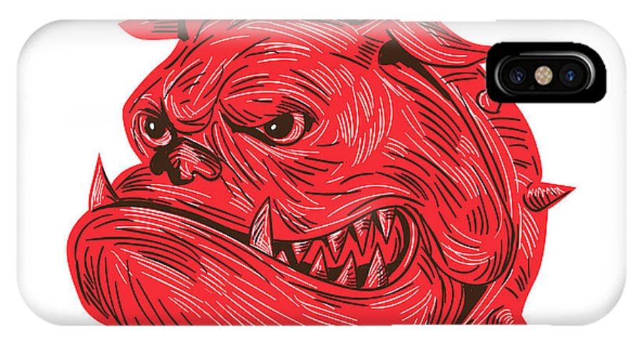 Drawing IPhone X Case featuring the digital art Angry Bulldog Head Drawing by Aloysius Patrimonio