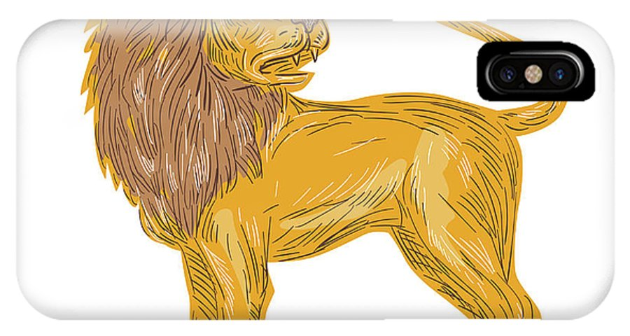 Drawing IPhone X Case featuring the digital art Angry Lion Big Cat Roaring Drawing by Aloysius Patrimonio