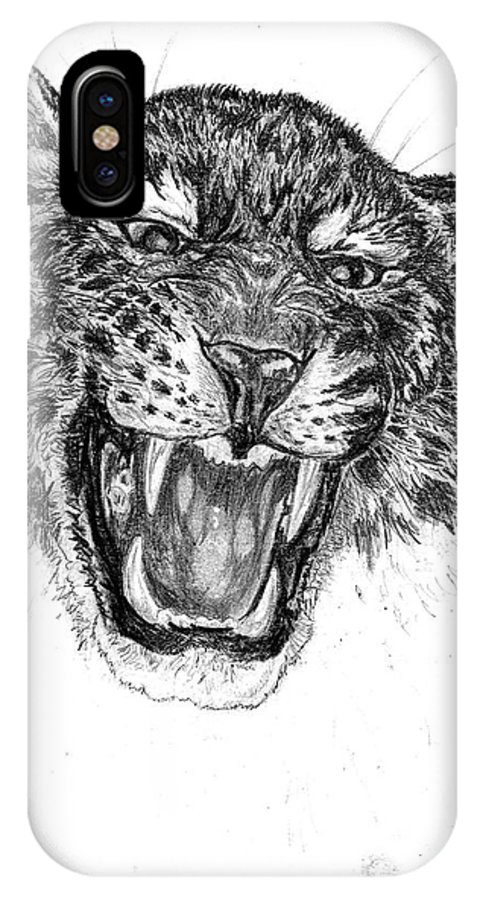 Eopard IPhone X Case featuring the drawing Angry by Peter Kulik