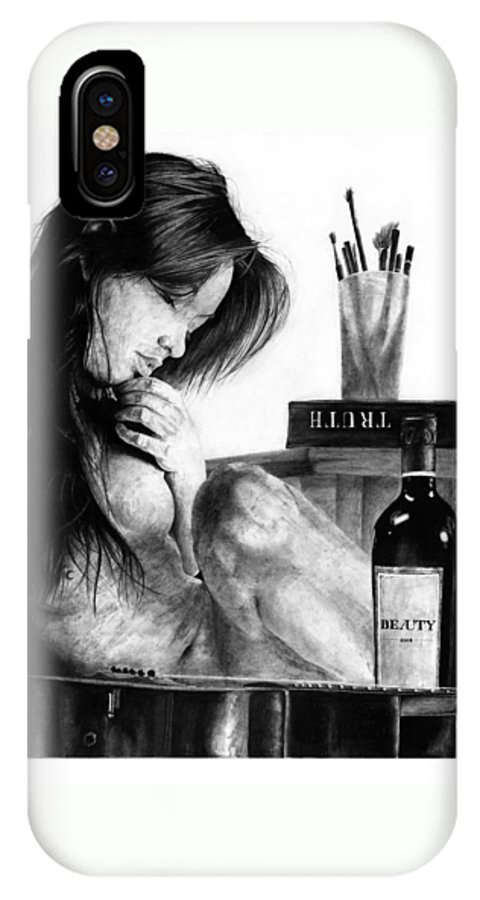 Portrait Girl Woman Nude Naked Beautiful Observation Still Psychology Mind Inner Self Reflection Truth Beauty Black Anima IPhone X Case featuring the drawing Anima by Priscilla Vogelbacher