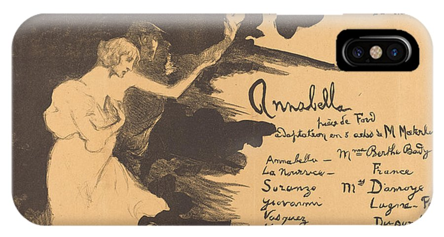 IPhone X Case featuring the drawing Annabella ('tis Pity She's A Whore) by Henri Bataille