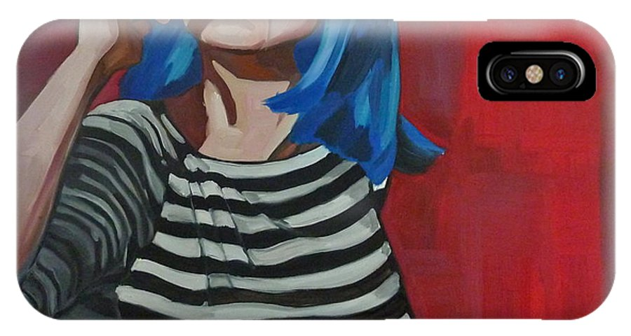 IPhone X Case featuring the painting Annamaria by Carmen Stanescu Kutzelnig