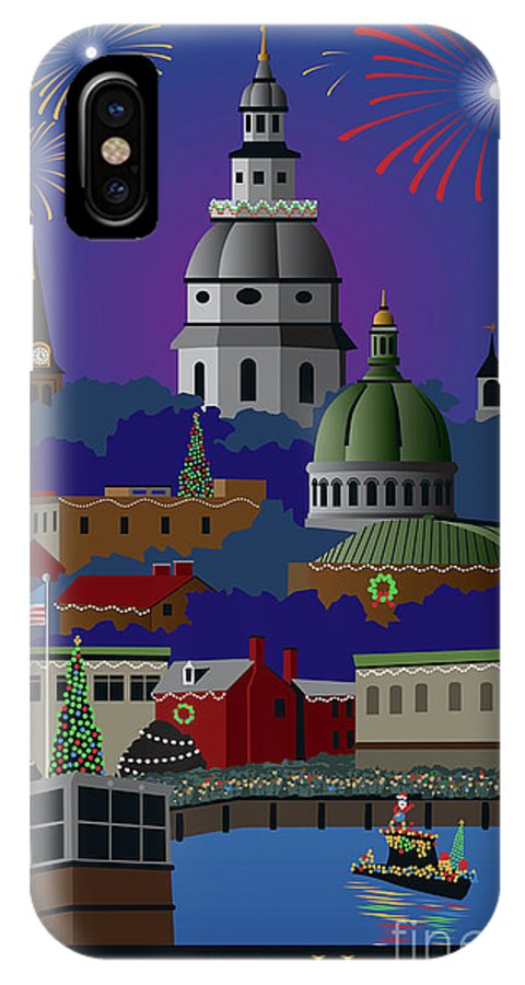 Holiday IPhone X Case featuring the digital art Annapolis Holiday With Title by Joe Barsin