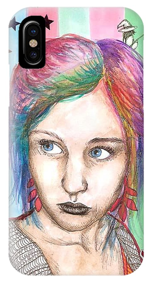 Stars IPhone X Case featuring the drawing Anne Sofie by Freja Friborg