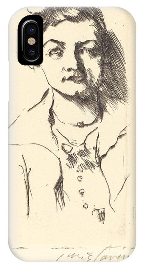 IPhone X Case featuring the drawing Anneliese Halbe (bildnis Einer Jungen Dame (anneliese Halbe)) by Lovis Corinth