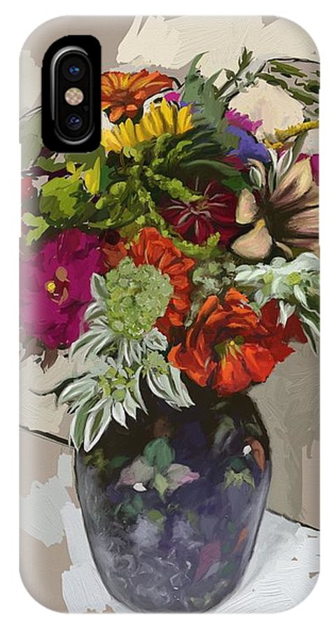 Flowers IPhone X Case featuring the painting Anne's Flowers by Shelley Hanna
