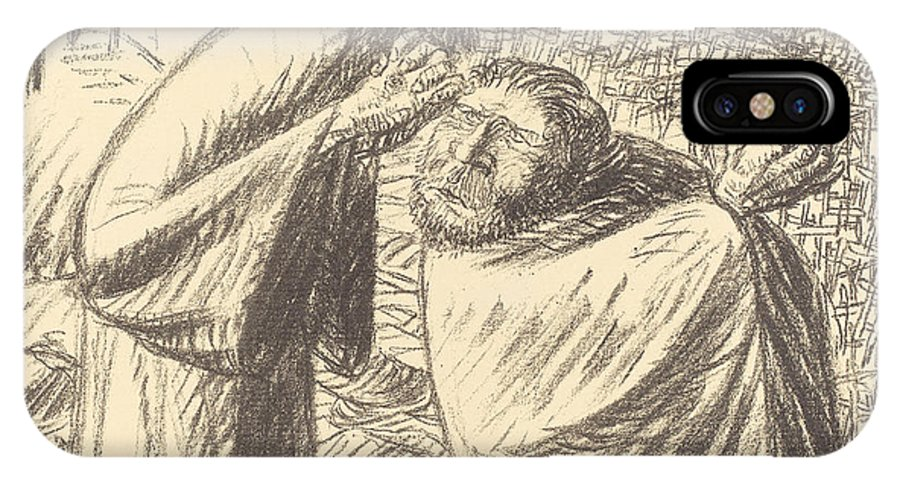IPhone X Case featuring the drawing Anno Domini Mcmxvi Post Christum Natum by Ernst Barlach