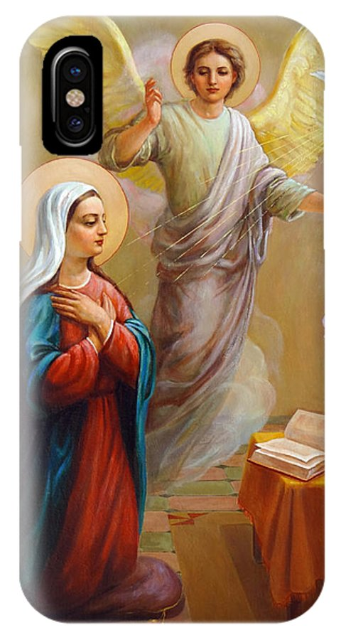 Annunciation IPhone Case featuring the painting Annunciation To The Blessed Virgin Mary by Svitozar Nenyuk