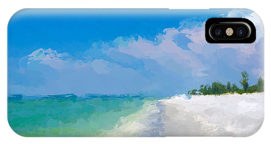 Anthony Fishburne IPhone X Case featuring the mixed media Another Beach Day by Anthony Fishburne