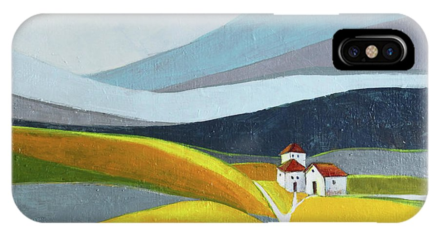 Landscape IPhone X Case featuring the painting Another Day On The Farm by Aniko Hencz