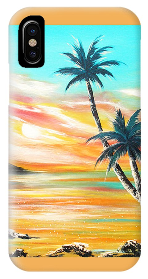 Sunset IPhone X Case featuring the painting Another Sunset In Paradise by Gina De Gorna