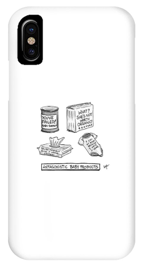Antagonistic Baby Products IPhone X Case featuring the drawing Antagonistic Baby Products by Sophia Wiedeman