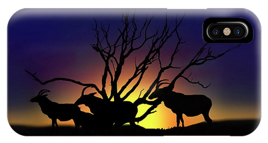 Sunrise IPhone X Case featuring the digital art Antelope Crossing by Gravityx9 Designs
