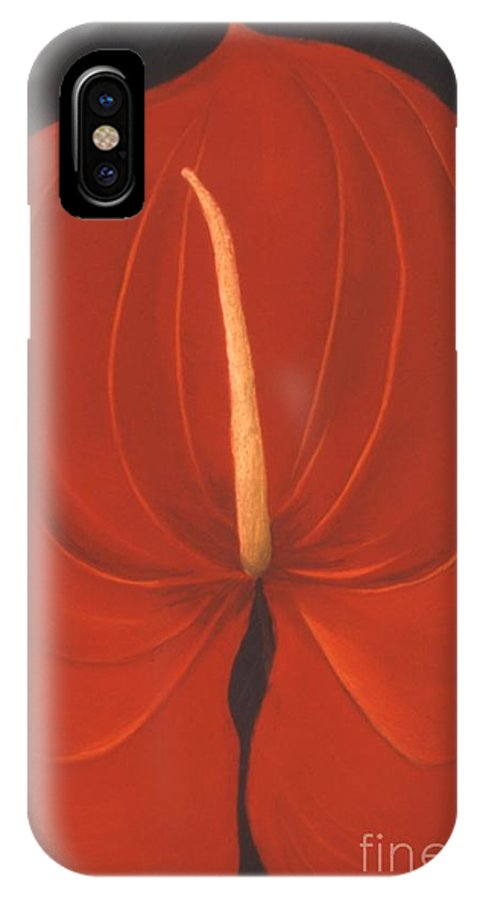 Anthurium IPhone X Case featuring the painting Anthurium by Mary Erbert