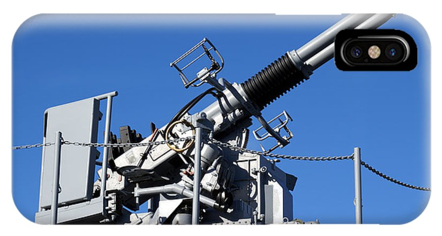 Aaw IPhone X Case featuring the photograph Anti Aircraft Turret Defense Guns On A Navy Ship by Olivier Le Queinec