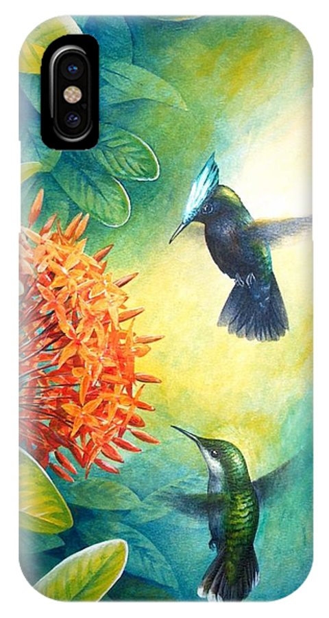 Chris Cox IPhone X Case featuring the painting Antillean Crested Hummingbirds And Ixora by Christopher Cox
