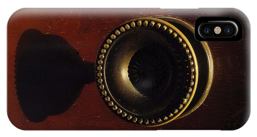 Antique IPhone Case featuring the photograph Antique Cabinet Handle And Shadow by Steve Somerville