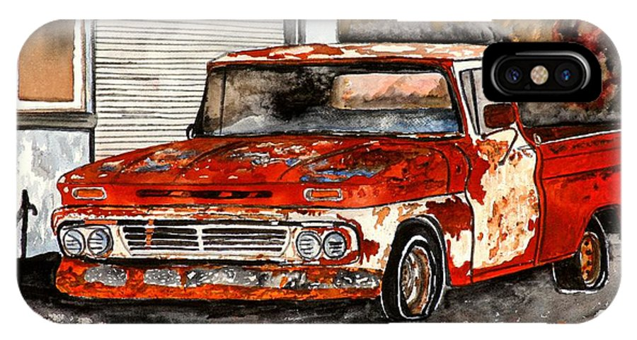 Transportation IPhone X Case featuring the painting Antique Old Truck Painting by Derek Mccrea