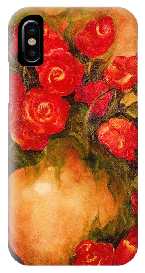 Pretty IPhone X Case featuring the painting Antique Roses by Jordana Sands
