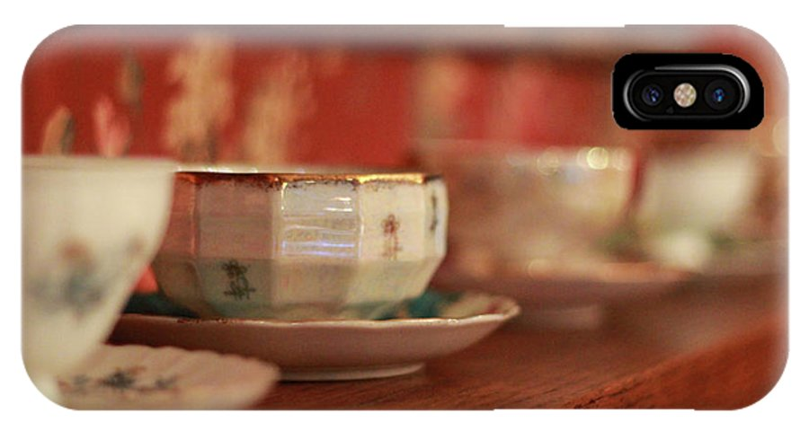 Tea IPhone X Case featuring the photograph Antique Teacups by Cassie Jines