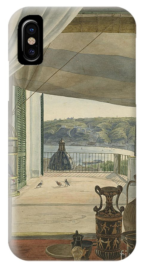 IPhone X Case featuring the drawing Antiquities By A Balcony Overlooking The Gulf Of Naples by Carl Wilhelm G?tzloff