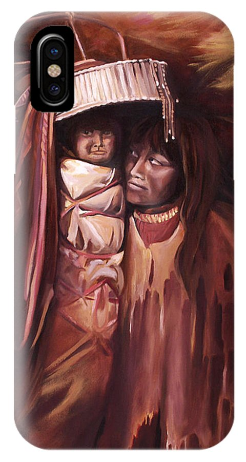 Native American IPhone Case featuring the painting Apache Girl And Papoose by Nancy Griswold