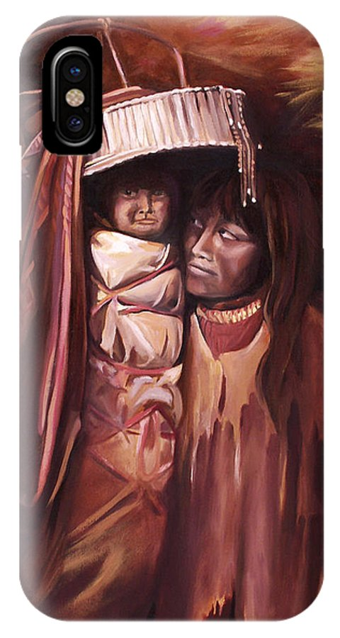 Native American IPhone X Case featuring the painting Apache Girl and Papoose by Nancy Griswold
