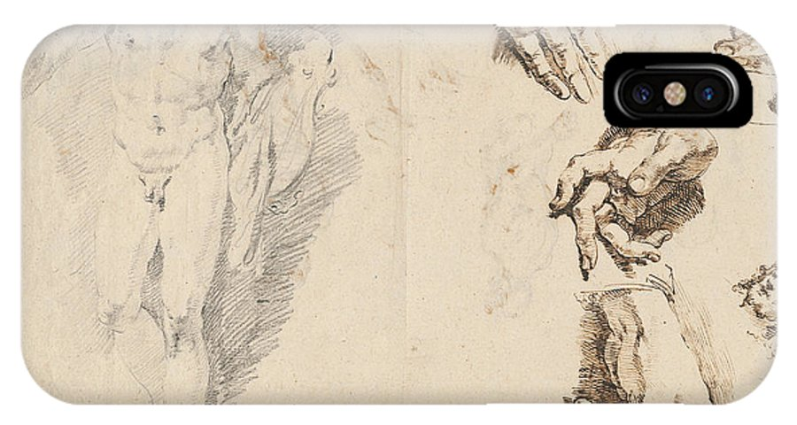 IPhone X Case featuring the drawing Apollo And Studies Of The Artist's Own Hand [recto] by Francesco Fontebasso
