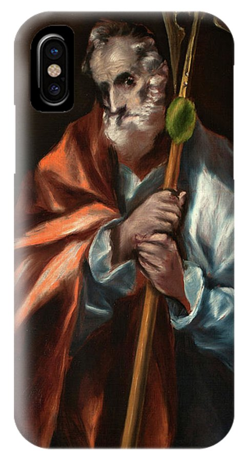Apostle IPhone X Case featuring the painting Apostle Saint Thaddeus, Jude by El Greco