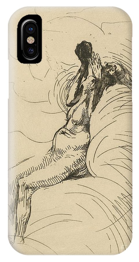 IPhone X Case featuring the drawing Apotheosis (l'apoth?ose) by Albert Besnard