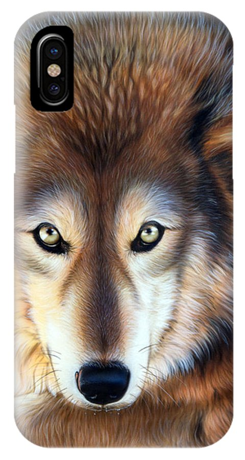 Wolf IPhone X Case featuring the painting Apparition by Sandi Baker