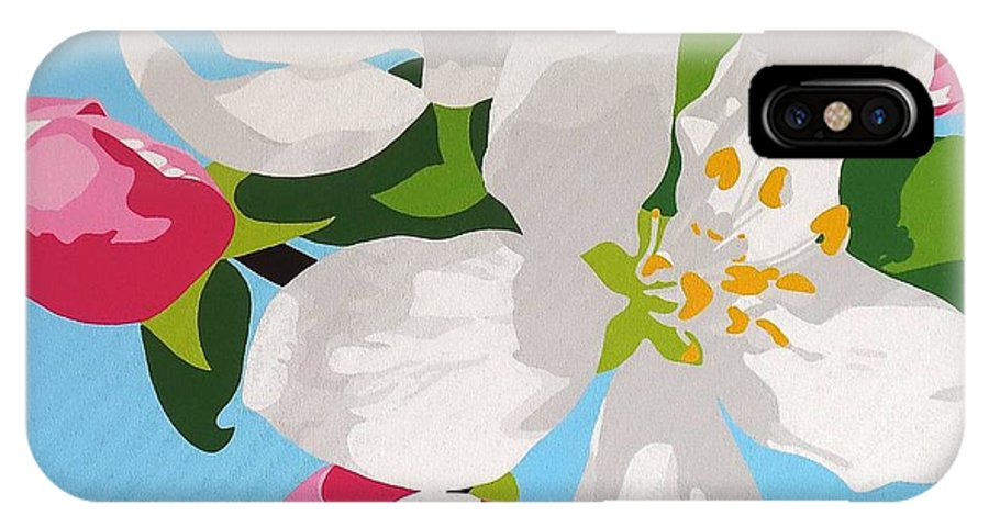 Springtime Apple Blossom IPhone X Case featuring the painting Apple Blossom by Susan Porter