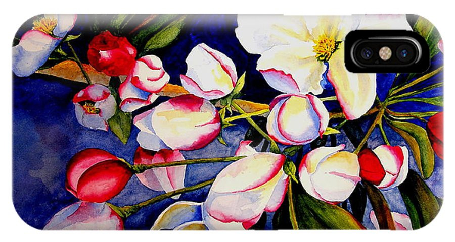 Apple Blossoms IPhone X Case featuring the painting Apple Blossom Time by Karen Stark