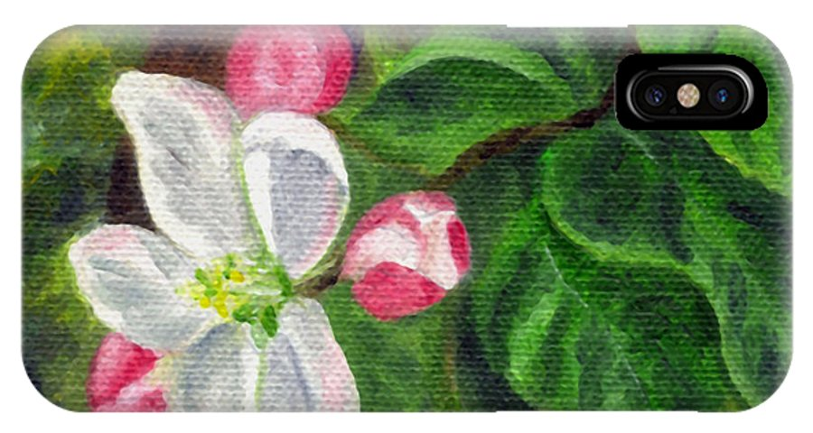 Apple IPhone X Case featuring the painting Apple Blossoms by FT McKinstry