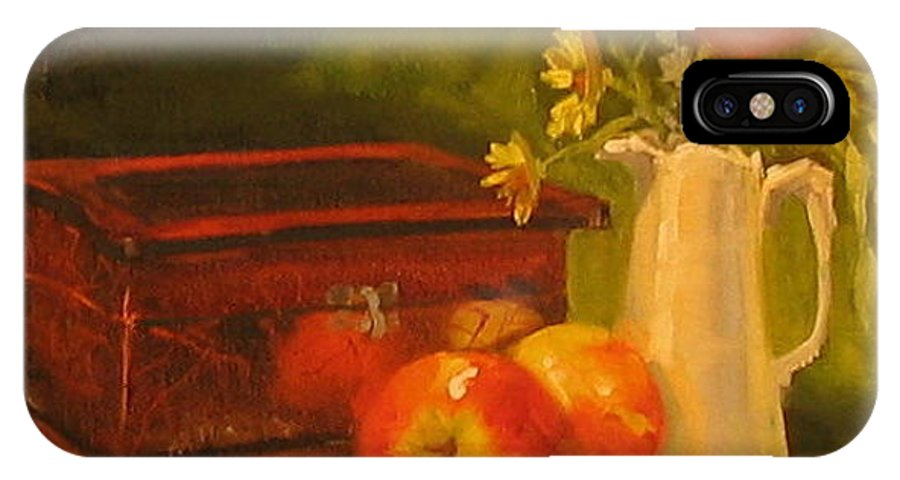 Oil IPhone X Case featuring the painting Apple Reflections by Laura Lee Zanghetti