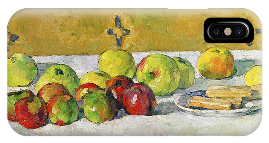 Apples IPhone X Case featuring the painting Apples And Biscuits by Paul Cezanne