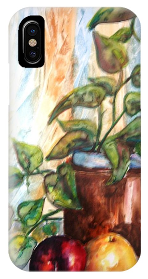 Plant IPhone X Case featuring the painting Apples And Plant by Melissa Wiater Chaney
