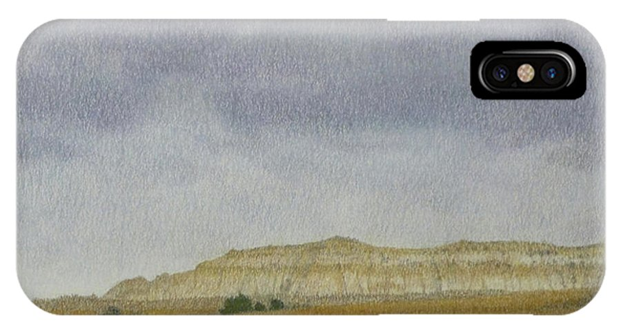 North Dakota IPhone X Case featuring the pastel April In The Badlands by Cris Fulton