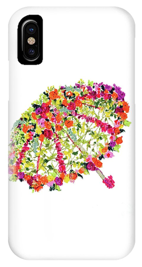 April Showers IPhone X Case featuring the pastel April Showers Bring May Flowers by Lauren Heller