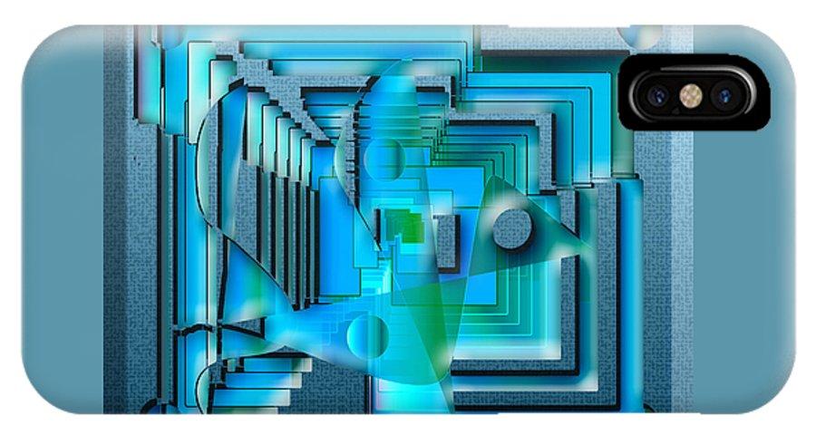 Abstract IPhone X Case featuring the digital art Aqua Blue by Iris Gelbart