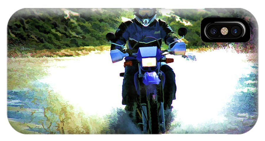 Motorcycle IPhone X Case featuring the photograph Aquaplaning by Douglas Barnard